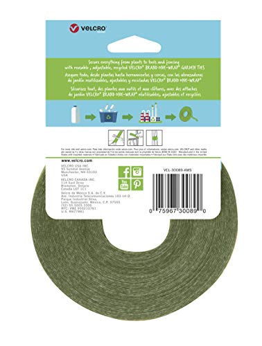 VELCRO Brand VEL-30089-AMS Wide Extra Support Garden Ties Strong Roses Shrubs Vines and Heavy Plants, 1in x 35ft, Green… 2 EXTRA STRONG SUPPORT: Suitable for Shrubs Roses Perennials Large Tomatoes or any Plant in Need of Strong Support; perfect addition to a landscaper's tool box GENTLE ON PLANTS: Soft side won't scratch or damage plants; wraps onto itself for a secure hold; plant supports are easy to reposition for growing blooms WEATHER RESISTANT: Strong gripping action keeps ties securely in place during stormy and inclement weather