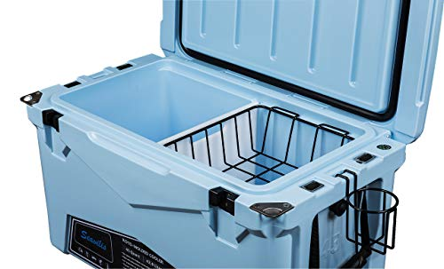 Seavilis Cooler 75qt (Sky Blue) (Including $50.0 Free Accessories) Hanging Wire Basket,Divider and Cup Holder are Free