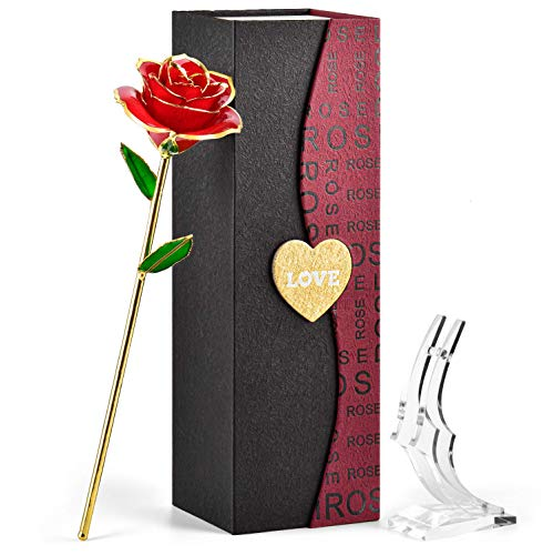 FORGIFTING Rosa Eterna, Regalos Originales para Mujer Ella Madre Novia Abuela en San Valentín, Sant Jordi, Día de la Madre, Aniversario, Boda, Cumpleaños - Flor Rosa de Oro de 24K (Rosa Roja+Soporte)