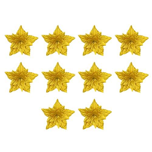 Mokyler 10 piezas de flores artificiales de Navidad de Poinsettia, adornos de árbol de Navidad, flores artificiales de seda para coronas de Navidad, guirnalda de decoración de vacaciones