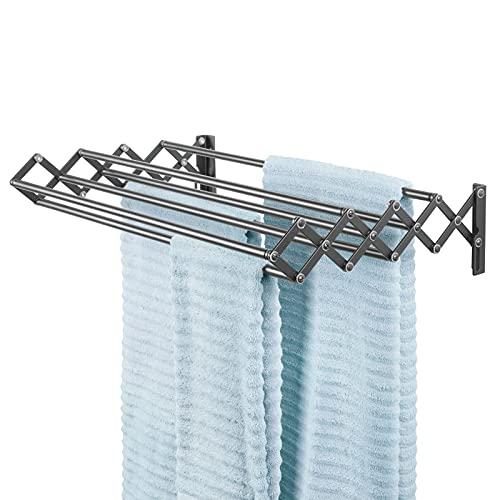 mDesign Tendedero extensible de metal – Práctico tendal plegable con 8 barras para secar ropa en el lavadero – Compacto tendedero de pared tipo acordeón, ideal para ahorrar espacio – gris oscuro