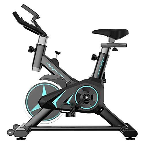 MZHEHAOAN Bicicleta estática estática para interior, ergómetro con rueda de inercia de acero, freno magnético, pulsómetro, pantalla LCD y soporte para botellas, peso del usuario hasta 120 kg