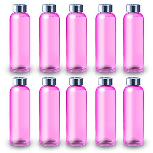 ShyaWorld Botella De Cristal para Agua Cuerpo de Acabado Transparente Tapón a Rosca en Acero Inoxidable. Cajas Individuales por Botella.