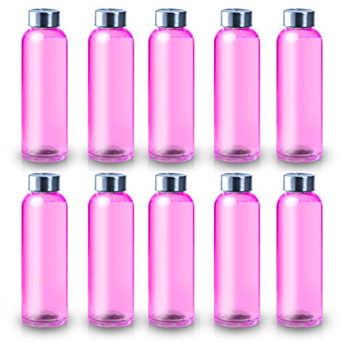 ShyaWorld Botella De Cristal para Agua Cuerpo de Acabado Transparente Tapón a Rosca en Acero Inoxidable. Cajas Individuales por Botella. (Rosa, 500ml (1PCS))