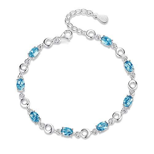 DGFGCS Ladies silver bracelet Blue Topaz Bracelets Female Real 925 Sterling Silver Deep Blue Sapphire Color Gemstone Bracelet For Student Birthday Gift