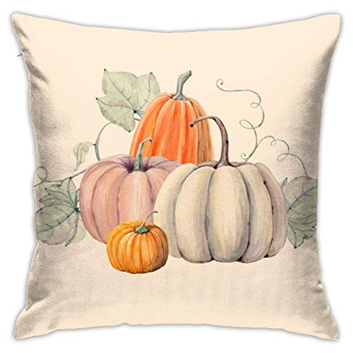 Pumpkins Watercolor Painting Autumn Fall Thanksgiving Orange Throw Pillow Covers Decorative 18x18 Inch Pillowcase Square Cushion Cases for Home Sofa Bedroom Livingroom