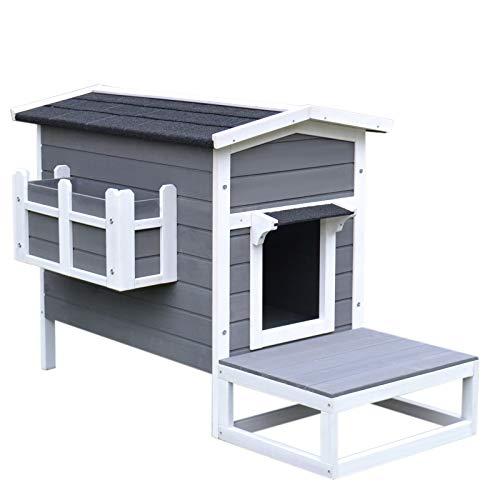 Pawhut Katzenhaus Katzenhütte Katzenhöhle Kleintierhaus mit Terrasse und Balkon für Katzen Hunde Tannenholz Grau + Weiß 115 x 66,5 x 74,7 cm