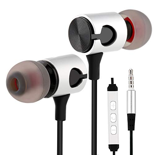 RiJuva Earphones Wired Earbuds with Microphone and Volume Metal Stylish Noise Isolating Compatible with Apple, Motorola, HTC, Chromebook, Laptop, LG, 3.9 Feet, Black with Silver
