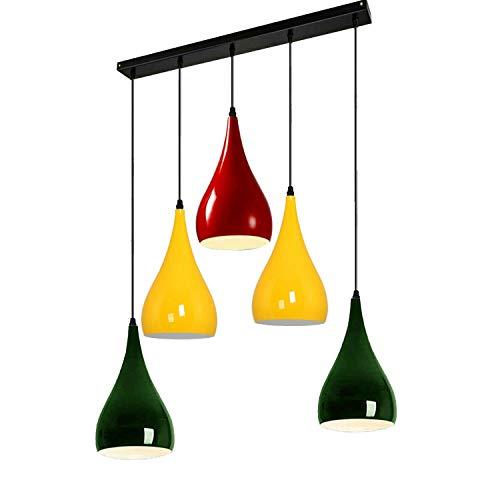 Moderna lámpara de techo con forma de lágrima de 5 vías, diseño de globo ocular, color de lámpara, ajuste ES E27, ajuste de luz del Reino Unido (rojo, amarillo y verde)