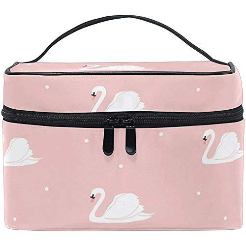 Swan fond rose femmes voyage sac de maquillage portable cosmétique train cas trousse de toilette beauté organisateur