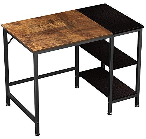 JOISCOPE Computertisch, Laptop-Schreibtisch, Schreibtisch mit Holzregalen, Schreibtisch im Industriestil für das Home Office (Vintage Oak Finish) 100 cm,40 Zoll