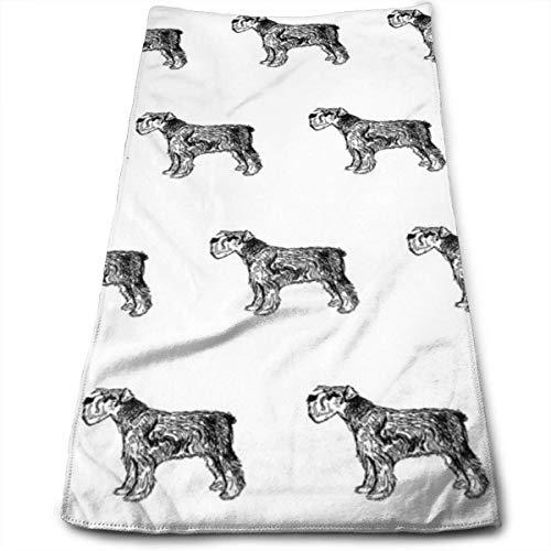 WTZYXS Schnauzer - Hond, Honden, Huisdier, Zwart en Wit Handdoeken Vaatdoek Bloemen Handdoeken Super Zachte Extra Absorbens voor Bad,Spa en Gym 12