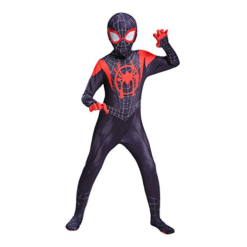 YME Superhero Miles Morales Costume,Bodysuit 3D Halloween Cosplay Costumes for Kids(MES,M)