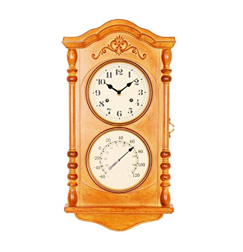 Bestime Wood Color Wall Clock with Thermometer, Key can be Placed. Wall Clock/Thermometer/Key Storage Cabinet, for Garage, Tool Warehouse, Doorway, Garden.