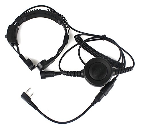 Tactical Throat Mic Earpiece Headset with Finger Ptt Compatible for Baofeng Radio BF-F8HP BF-F9 UV-82 UV-82HP UV-82C UV-5R UV-5R+ UV-5RA UV-5RB UV-5RC UV-5RD UV-5RE Kenwood Wouxun Two-Way Radio