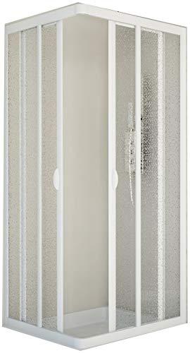 wohnfuehlidee Duschkabine | Eckeinstieg | Stuttgart | Acryl-Glas/Kunststoff | Fb. Weiss Größe 75 x 90 cm
