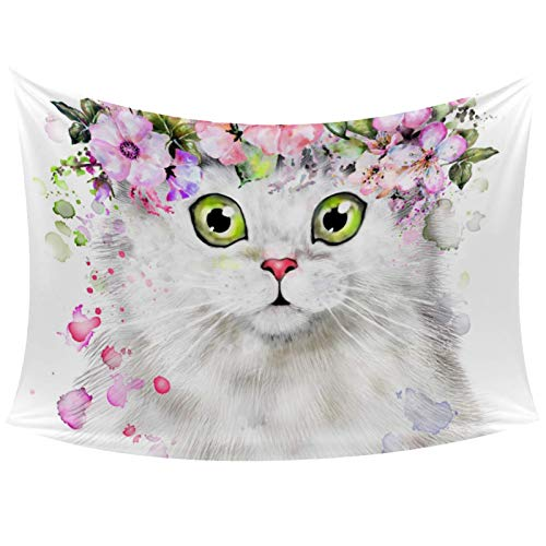 Hipster Cute Cat Flower And Splash Watercolor Illustration Tapestry Wall Hanging for Home Wall Decorative for Living Room Bedroom Dorm Decoration, 60x40 Inches