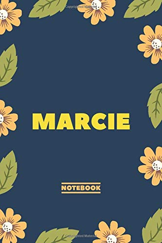 Marcie - Notebook: Yellow Floral design, Personalized name journal « Marcie » | Birthday Gift For Women & Girl, Mom, Sister ..| Lined Journal, 120 Pages, size 6 x 9