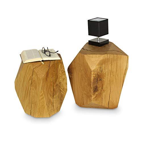 GREENHAUS Holzklotz Würfel Eiche Massiv 30x30x45 cm Handarbeit und Massivholz aus Deutschland Holzblock Hocker Beistelltisch