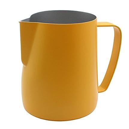 Dianoo Jarra De Jarra De Espuma De Acero Inoxidable Jarra Humeante Adecuada Para Café Latte Y Leche Con Espuma 600ml Amarillo