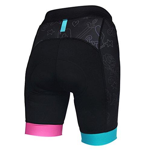 Baoblaze Frauen Radfahren Unterwäsche 3D gepolstert Hosen Atmungsaktiv Weich Fahrradunterhose Fahrradhose Radunterhose Radsportbekleidung für Damen Mädchen - M