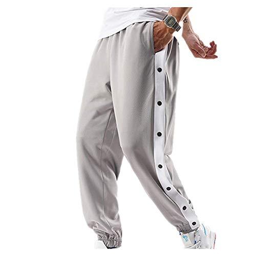 Herren Hip-Hop-Hose, seitliche Knöpfe, elastische Taille, lockerer Stil, Herren-Jogginghose Gr. 34-37, grau