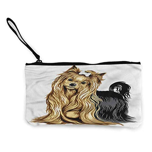 Yorkie Zipper Coin Pouch Zipper Storage Case Cosmetic Bags Long Haired Domestic Pet