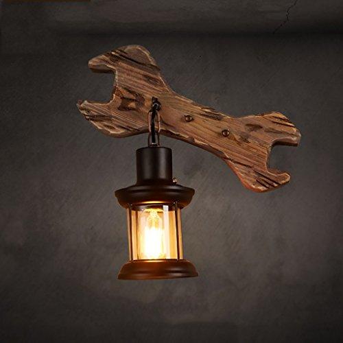 *applique murale interieur Rétro lampe de mur Industrial Lights Bois massif Balcon Balcon Lumières murales Café Restaurant Bar Wrench verre lumières décoratives éclairage Chambre (Couleur : Naturel)
