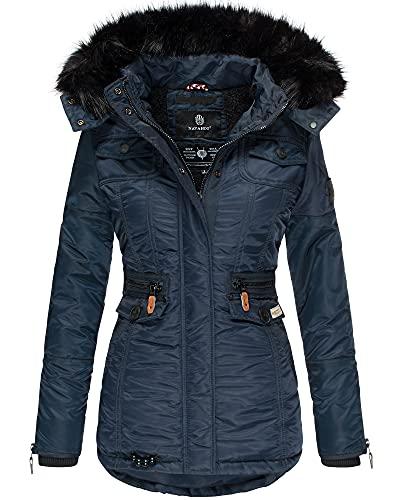Navahoo Damen Winter Jacke Parka Mantel Trendjacke Kunstfell Kragen Kapuze Schätzchen (Blau, S)