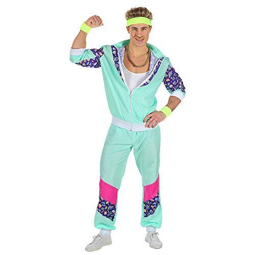 Widmann 00184 - Erwachsenenkostüm, 80er Jahre Trainingsanzug, Jacke und Hose, angenehmer Tragekomfort, Assi Anzug, Proll Anzug, Retro Style, verschiedene Größen, Bad Taste Party, 80ties, Karneval