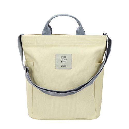 Yidarton Damen Umhängetaschen groß Tasche Casual Handtasche Canvas Chic Damen Schultertasche Henkeltasche für Schule Shopping Arbeit Einkauf (Beige)