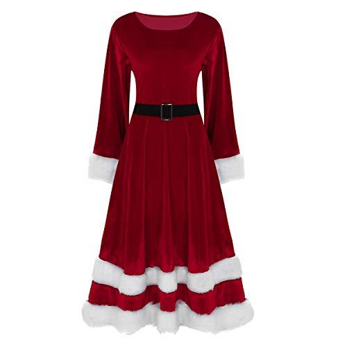 ranrann Robe de Noël Femme Costume Mère Noël Déguisement Lutins Robe Soirée Velours Fourrure Col Rond Robe Manche Longue Grande Taille Tenue Christmas Spectacle M-5XL Rouge L