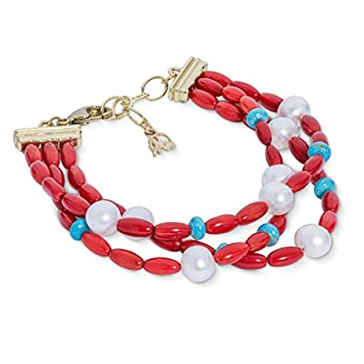 American West Sterling Silver Red Coral, Turquoise and Pearl Gemstone Three Strand Bracelet Size Medium