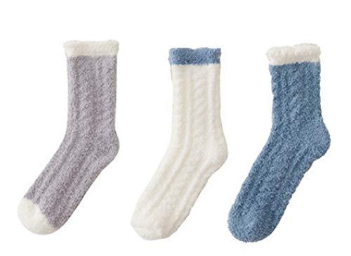 Gemütliche Schlafsocken, Sockenpantoffel, 3 Paar, Fuzzy Warm Slipper Socken, Damen Superweiche Mikrofaser -