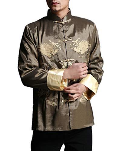 Interact China Stylish Green Kung Fu Men's Blazer Padded Jacket Dragon Shirt - 100% Silk #106 + Free Magazine
