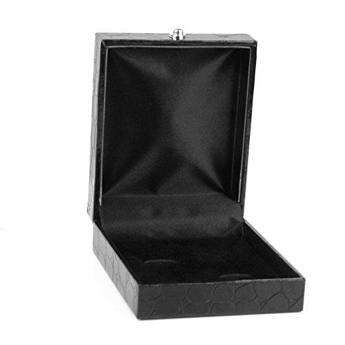 oshhni Schwarz PU Leder Krawatte Clip Manschettenknöpfe Aufbewahrung Geschenkbox