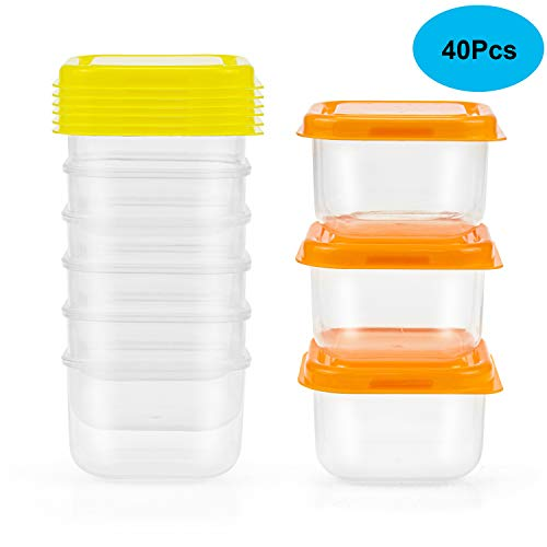 Tebery 40er Set bunt Mini-Tiefkühldose Frischhaltedose 100ml rechteckig, Blua, Grün,Orange und Rosa