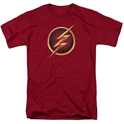 DC Comics The Flash Logo - CW's The Flash TV Show Adult T-Shirt, Medium Red