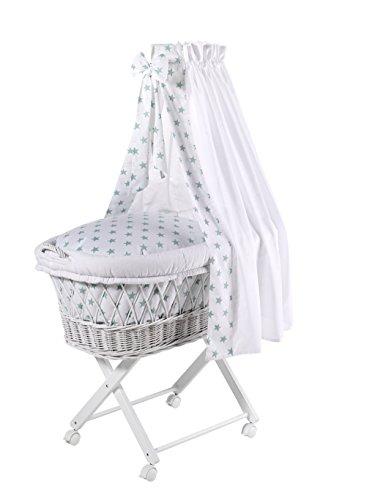 Schardt 09 812 00 02 1/722 - Capazo para bebé con ropa de cama, color blanco azul oscuro