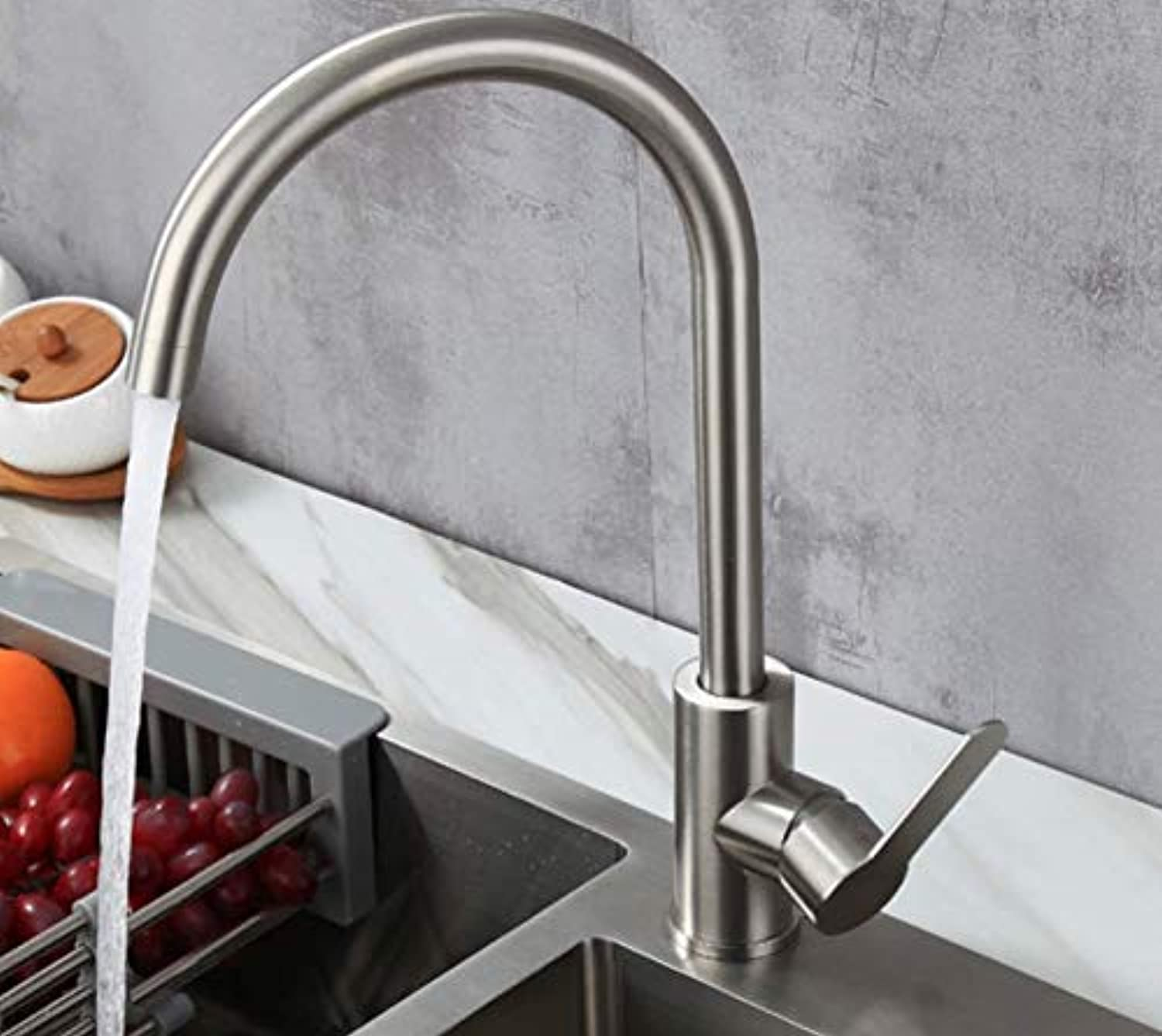 Bathroom Faucet Hot and Cold Brushed Sink, redating Sink, Universal Sus304 Stainless Steel Kitchen Faucet, Single Cold