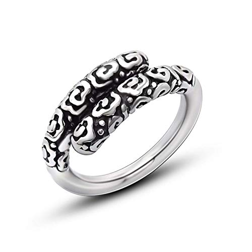 NA Black Ring for Men Stainless Steel Chinese Cloud Ring Silver Black Ring Size 5-10