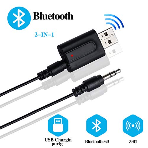 Yizhet 2-in-1 Bluetooth Adapter USB 5.0 Zender Ontvanger met 3,5 mm Audio Line, Draadloze Bluetooth zender Adapter voor TV, PC, Headphones, Auto Sound Systems, Home, Stereo Radio Speakers