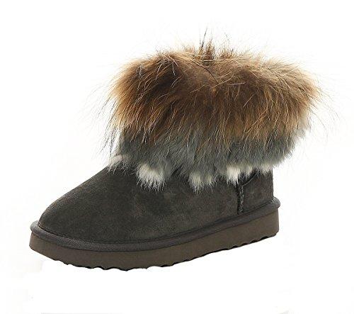 SKUTARI Wildleder Damen Winter Boots Warm Gefüttert Schlupf-Stiefel mit Stabile Sohle Weiche Fell (40 EU, Grigio (Bianco))