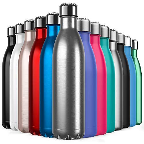 BICASLOVE Botella de Agua de Acero Inoxidable,Diseño de Pared Doble,Boca EstáNdar,para Correr,Gimnasio,Yoga,Ciclismo,500ML,Acero Inoxidable