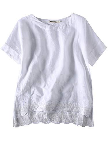 Minibee Women's Summer Linen Tunic Shirt High Low Hem Embroidery Blouse Top White