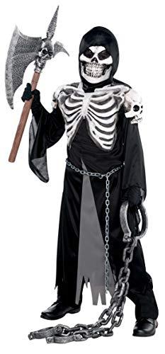 Amscan 999480 - Kinderkostüm Sensenmann, Robe, Kapuze, Gesichtsmaske, Skelett, Mottoparty, Karneval, Halloween
