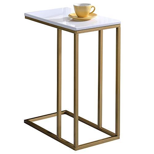 IDIMEX Beistelltisch Debora Wohnzimmertisch Couchtisch rechteckig, Metallgestell und MDF Tischplatte in Gold/weiß, im Retro Stil