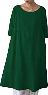 Esast Women's Tunic Dress Loose Long Sleeve Plain Solid Oversize Baggy Party Shirt Mini Short Dresses