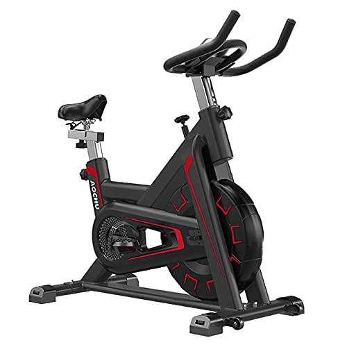 Bicicleta de ejercicio para interiores Ciclismo giratorio profesional Pantalla electrónica LCD Distancia, tiempo, velocidad, gran volante con carga de 300 libras, manillar ajustable Asiento,Rojo