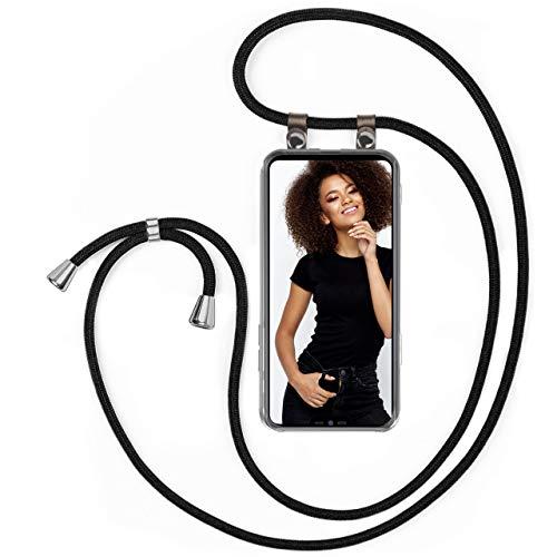moex Handykette kompatibel mit LG G7 ThinQ / G7 Fit Hülle mit Band Längenverstellbar, Handyhülle zum Umhängen, Silikon Hülle Transparent mit Kordel Schnur abnehmbar in Schwarz